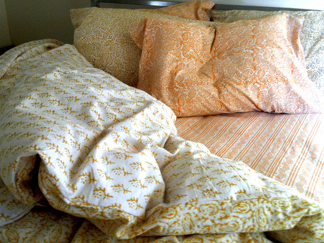 Tilonia® King Duvet Set - Paisley & Sprig in Mustard Yellow from Sprout Enterprise®