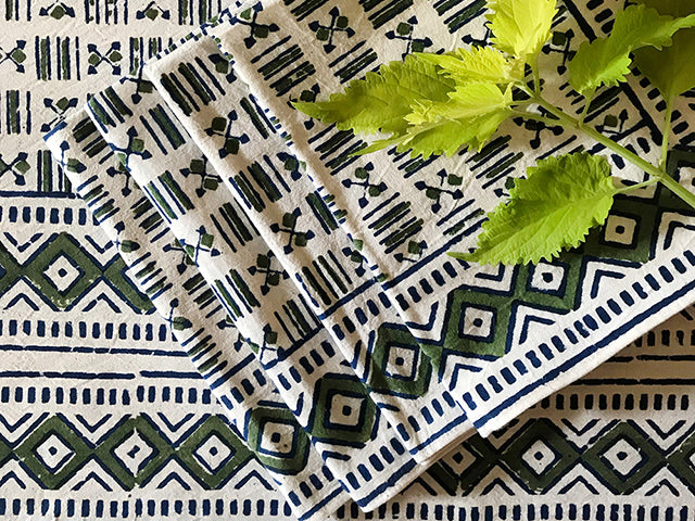 Tilonia® Block Print Tablecloth & Napkin Set for 4 - Green & Blue Geometry from Sprout Enterprise®