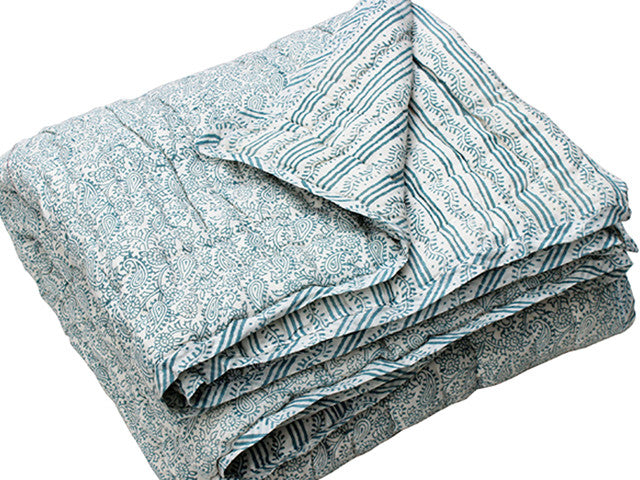 Tilonia® Queen Quilt - Hanuman Paisley & Centipede Stripe in Teal from Sprout Enterprise®