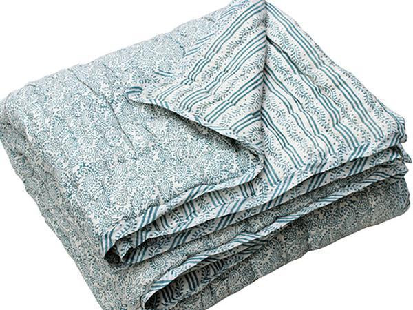 Tilonia® King Quilt - Hanuman Paisley & Centipede Stripe in Teal from Sprout Enterprise®
