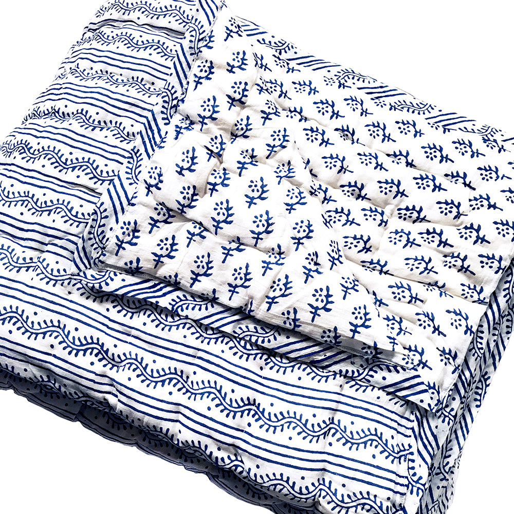 Tilonia® Twin Quilt - Centipede Stripe & Sprig in Blue from Sprout Enterprise®