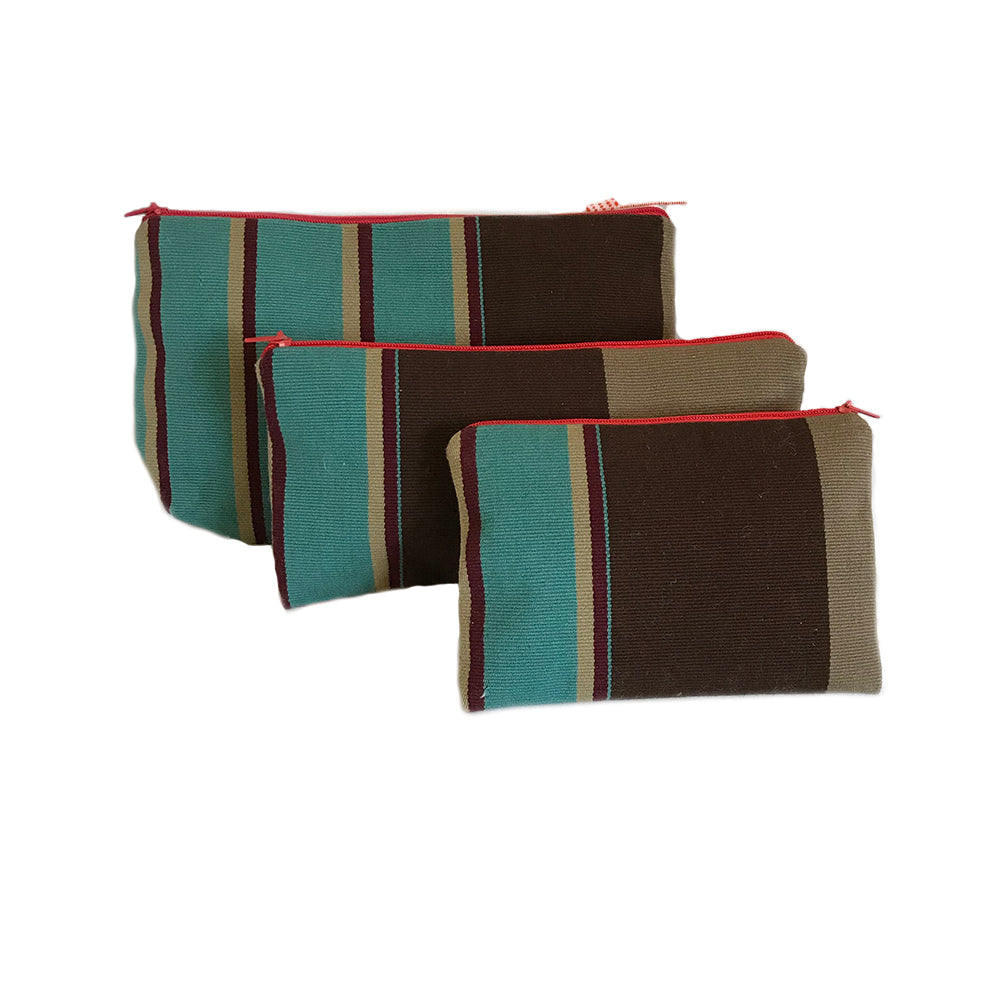 El Camino de Los Altos Set of 3 Striped Cases - Turquoise & Chocolate