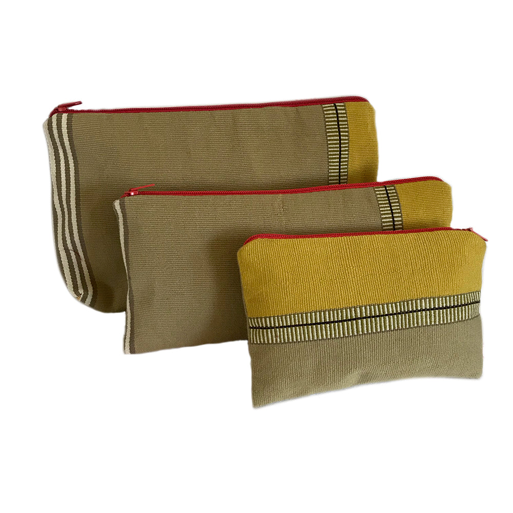 El Camino de Los Altos Set of 3 Striped Cases - Taupe & Ochre