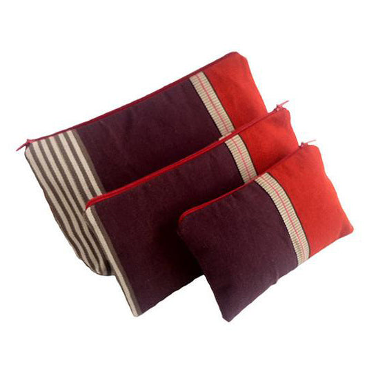 El Camino de Los Altos Set of 3 Striped Cases - Maroon & Red