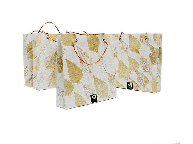 Elrhino Paper Gift Bags - Set of 5 Medium with German Leaf Print from Sprout Enterprise®