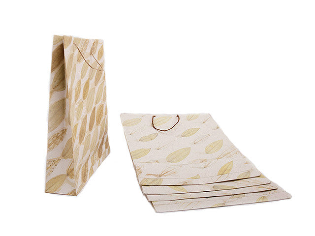 Elrhino Paper Gift Bags - Set of 5 Large with Phukti Leaf Print from Sprout Enterprise®