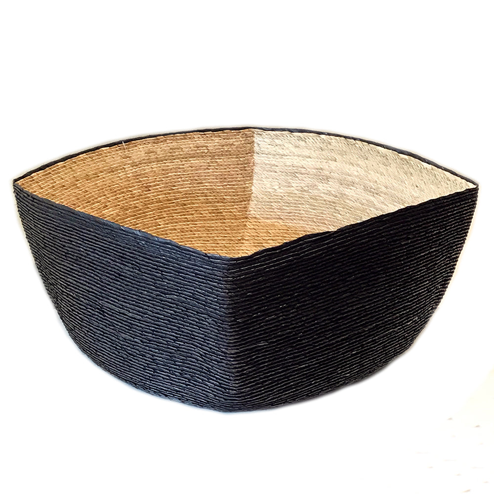 Makaua Medium Square Basket - Black and Natural