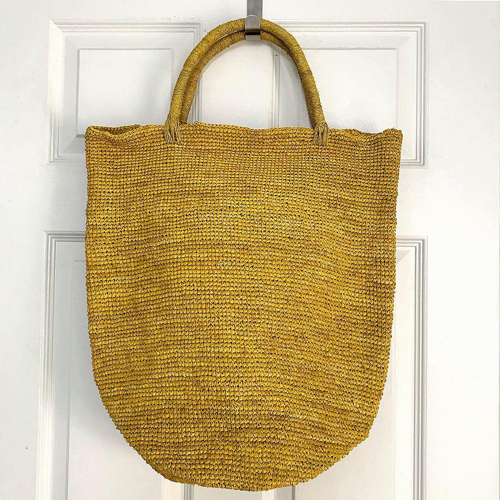 Razafindrabe Large Raffia Bucket Bag - Yellow from Sprout Enterprise®