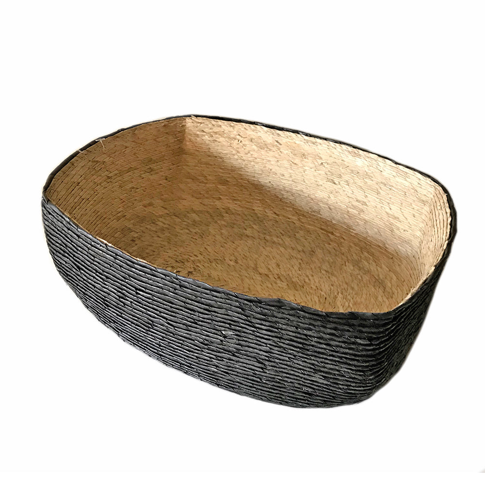 Makaua Small Rectangular Basket - Black and Natural