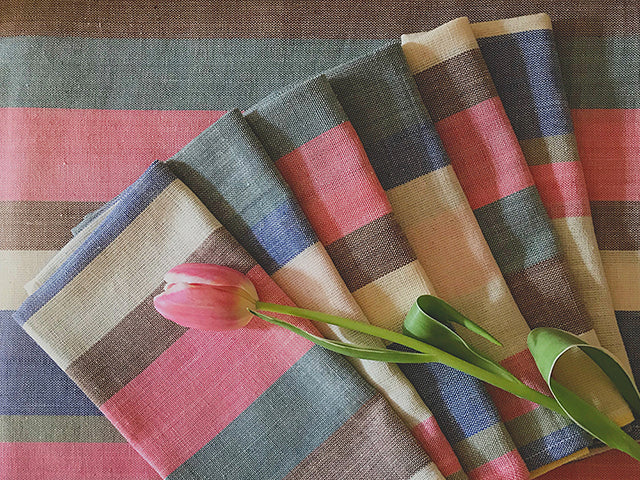 Tilonia® Table Linen & Napkin Set for 6 in Striped Handloom from Sprout Enterprise®
