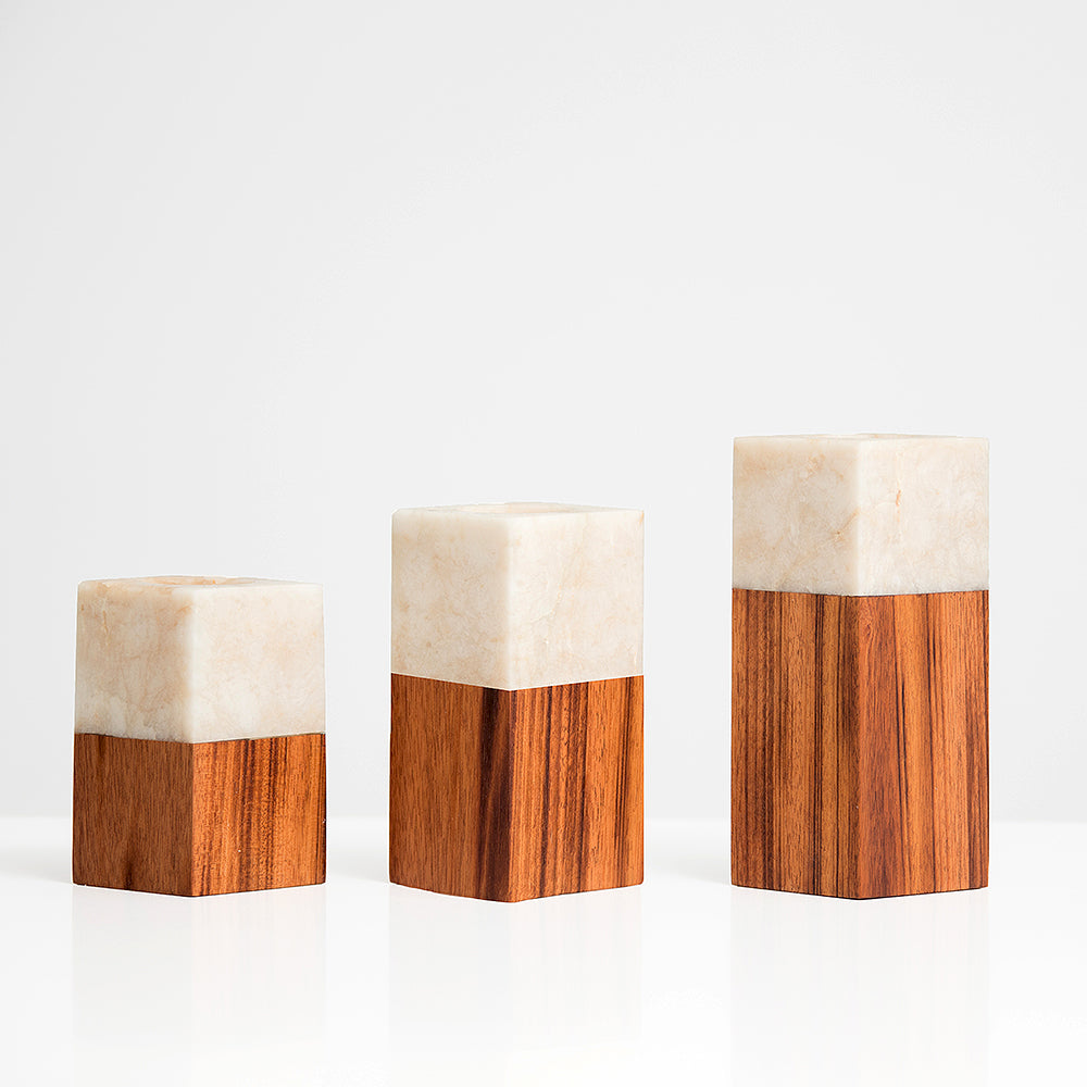 Itza Wood Candle Holders - Set of 2 Medium - VMC05