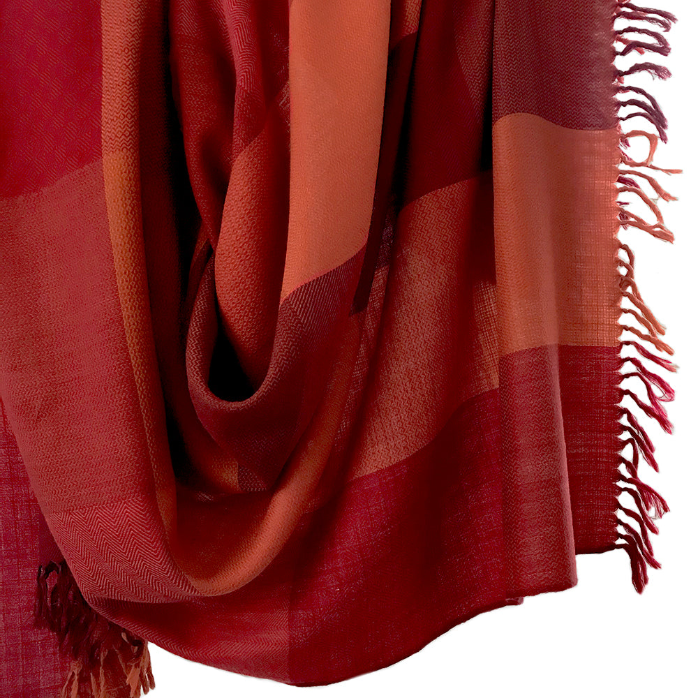 Kilmora Handwoven Throw in Red & Orange Color Blocks
