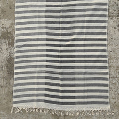 Kala Swaraj Mulmul Cotton Shawl - Black Weft Stripes