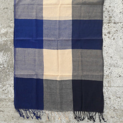 Kala Swaraj Mulmul Cotton Shawl - Black & Blue Warp Stripes