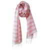 Kala Swaraj Mulmul Cotton Shawl - Pink Weft Stripes
