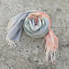 Kala Swaraj Mulmul Cotton Shawl - Green, Pink and Blue Bands