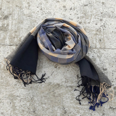 Kala Swaraj Mulmul Cotton Shawl - Black & Blue Warp Bands
