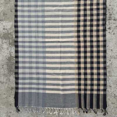 Kala Swaraj Mulmul Cotton Shawl - Black & Grey Warp Stripes
