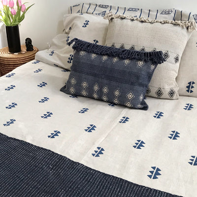 Wayil by Algodones Mayas Lumbar Pillow - Navy