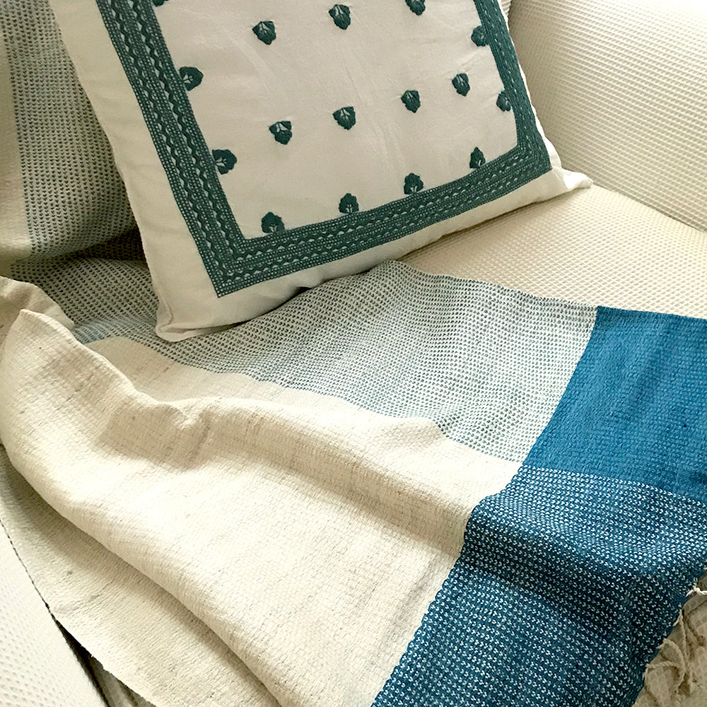 Eco Tasar Handwoven Silk Throw - Teal from Sprout Enterprise®