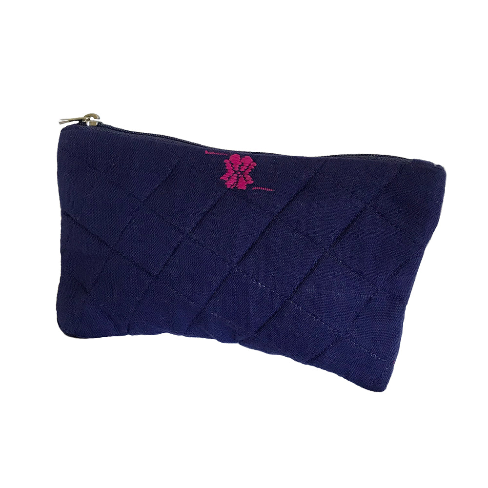 Rabha Women Weavers X Nomi Network - Cosmetic Case for a Cause - Blue from Sprout Enterprise®