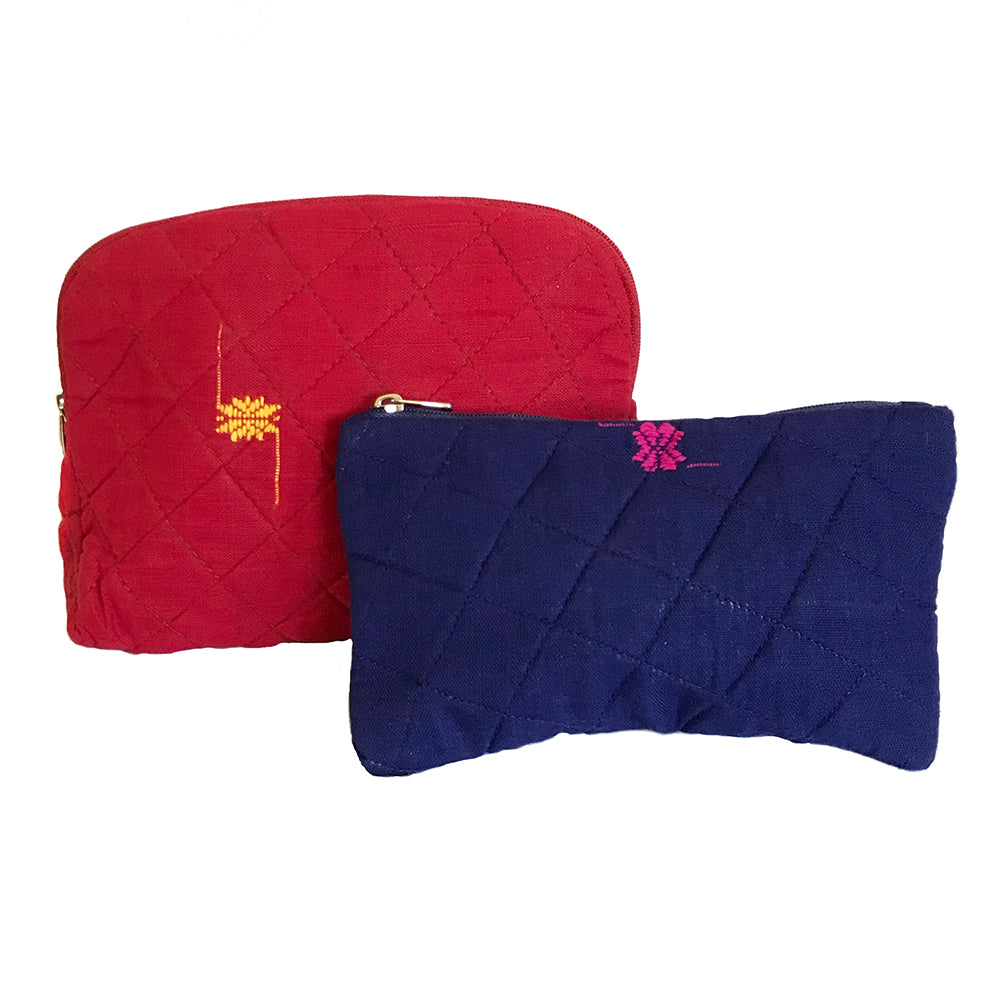 Rabha Women Weavers X Nomi Network - Cosmetic Case for a Cause - Red