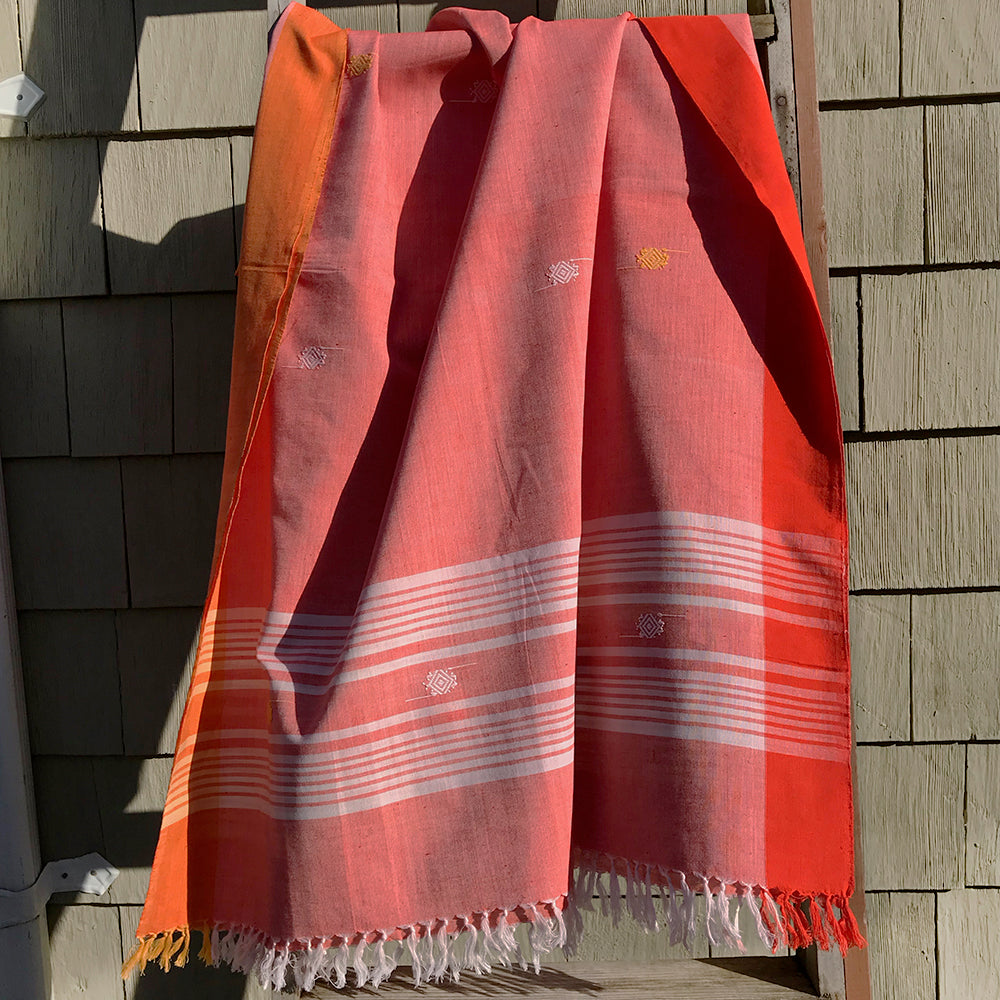 Rabha Women Weavers Handwoven Shawl - Orange from Sprout Enterprise®