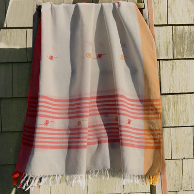 Rabha Women Weavers Handwoven Shawl - Orange & White