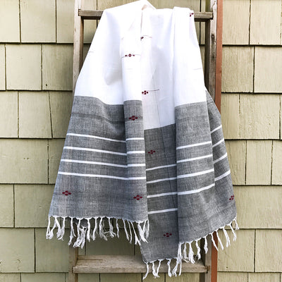 Rabha Women Weavers Handwoven Shawl - White & Black
