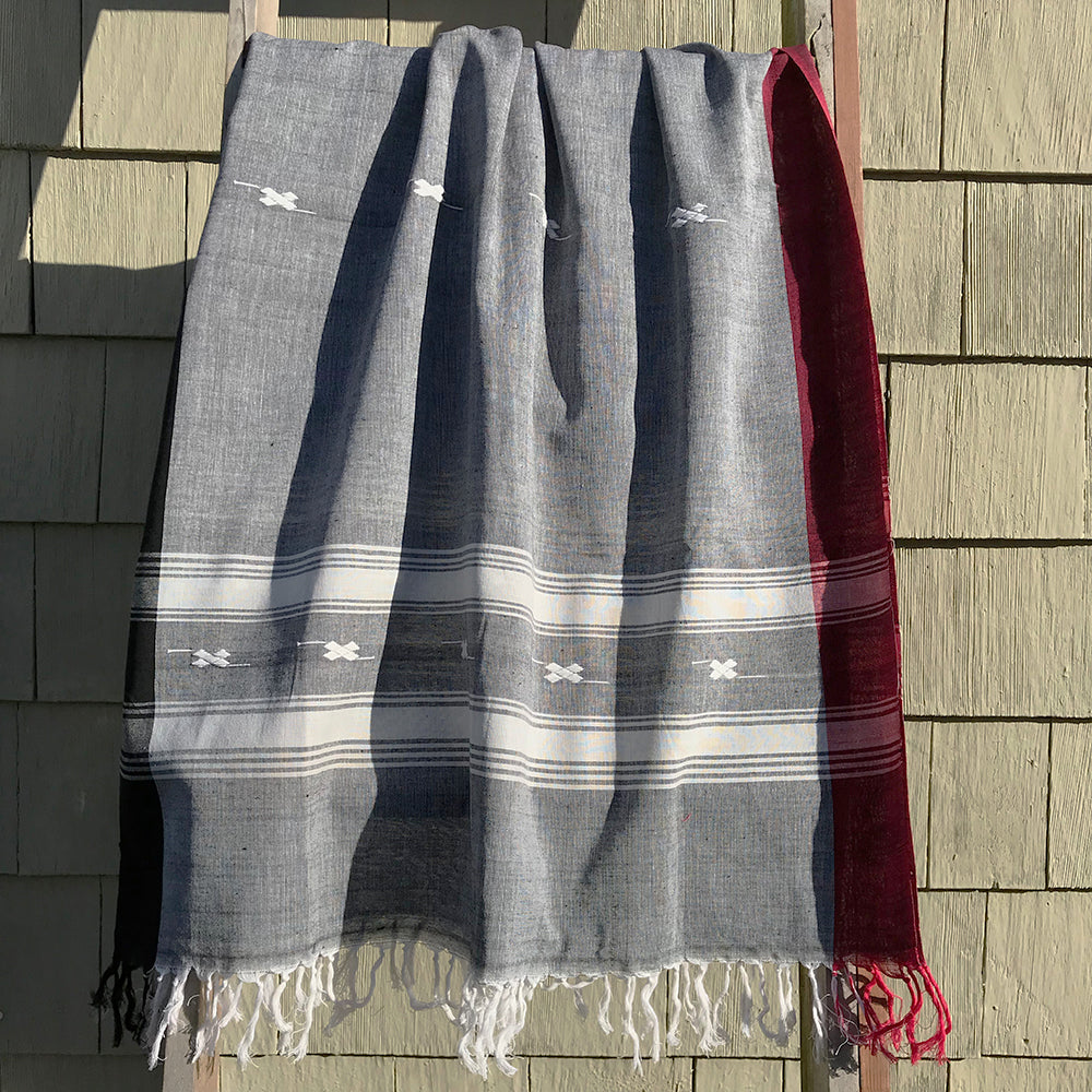 Rabha Women Weavers Handwoven Shawl - Grey & White from Sprout Enterprise®