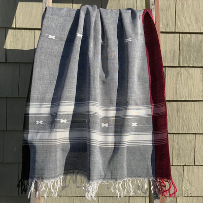 Rabha Women Weavers Handwoven Shawl - Grey & White
