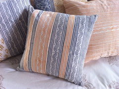 Tilonia® By DH Studio - Decorative Pillow Cover in Centipede Stripe in Slate Grey and Pumpkin Orange
