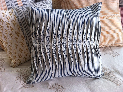 Tilonia® By DH Studio - Pleated Decorative Pillow Cover in Centipede Stripe in Blueberry