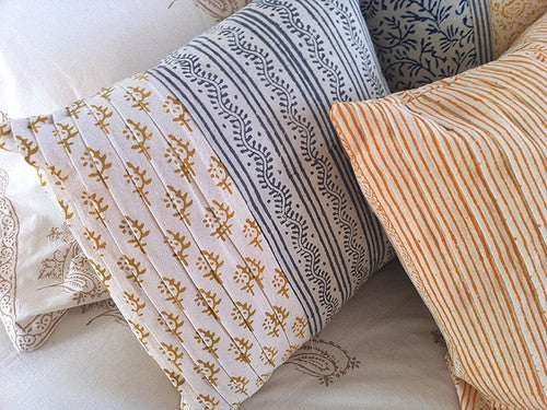 Tilonia® By DH Studio - Pleated Decorative Pillow Cover in Centipede Stripe in Slate Grey and Sprig in Mustard Yellow