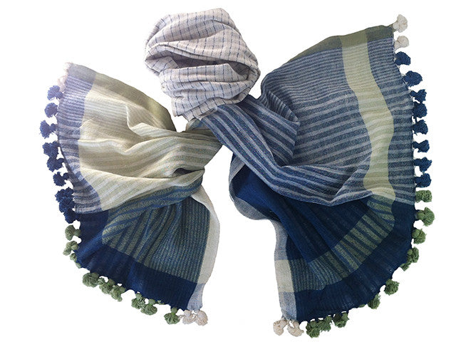 WomenWeave Handspun, Naturally Dyed Organic Cotton Shawl - WW536GM