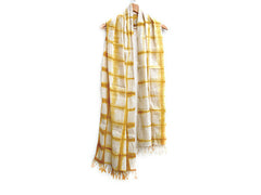 WomenWeave Organic Handspun  Cotton Shawl - Dip Dye Checks - Saffron Yellow