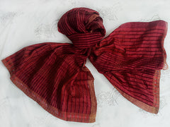 WomenWeave Handspun Cotton & Mulberry Silk Shawl - Scarlet Red