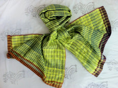 WomenWeave Handspun Cotton & Mulberry Silk Shawl - Chartreuse