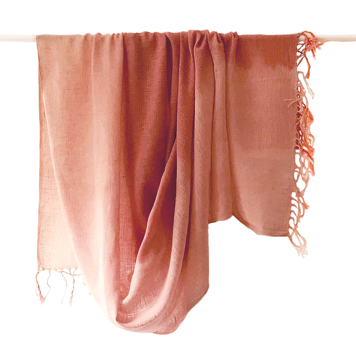 WomenWeave Organic Handspun Cotton Shawl - Color Block - Dusty Rose from Sprout Enterprise®