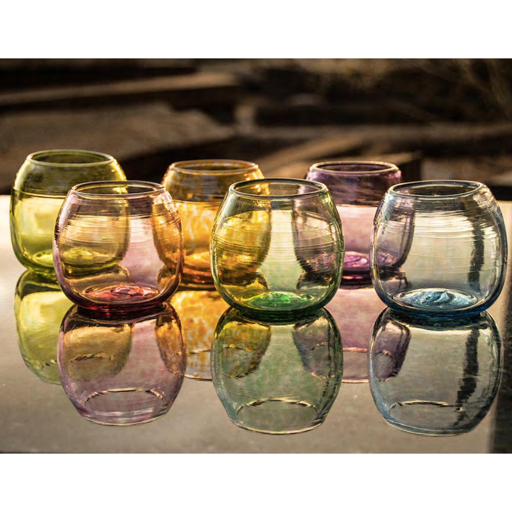 Xaquixe Handblown Glass - Wine - Set of 6 in Assorted Colors - Pre-Order