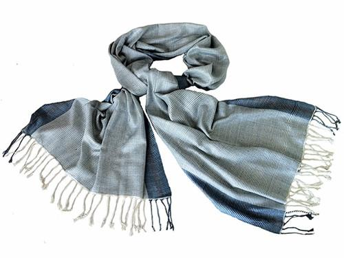 Avani Wild Silk Shawl in Blue Stripes