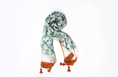 MATTER Kamal Print: Silk Cotton Handprinted Scarf in Moss Green + Rust