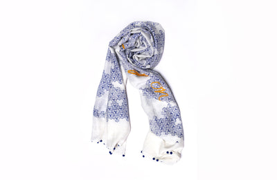 MATTER Mobi Print: Silk Cotton Handprinted Scarf in Indigo Blue