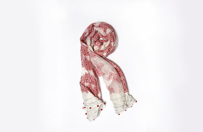 MATTER Mobi Print: Silk Cotton Handprinted Scarf in Pomegranate Red