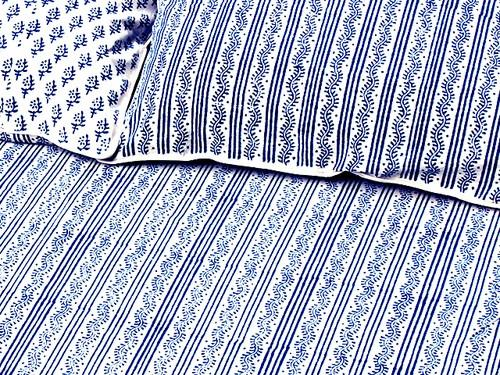 Tilonia® Queen Duvet Set - Centipede Stripe & Sprig in Blue from Sprout Enterprise®