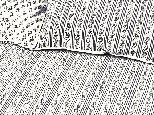 Tilonia® Queen Duvet Set - Centipede Stripe & Sprig in Grey from Sprout Enterprise®
