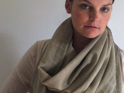 Avani Wild Silk & Merino Wool Shawl in Olive