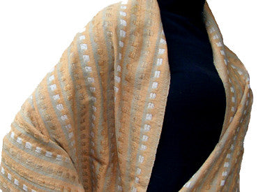 Avani Tibetan Wool Shawl In Tawny Beige, Cream...