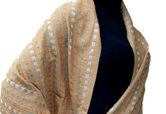 Avani Tibetan Wool Shawl in Tawny Beige, Cream & Soft Blue