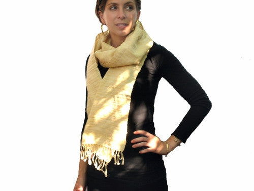 Avani Wild Silk &Amp; Wool Scarf In Pale Buttercup